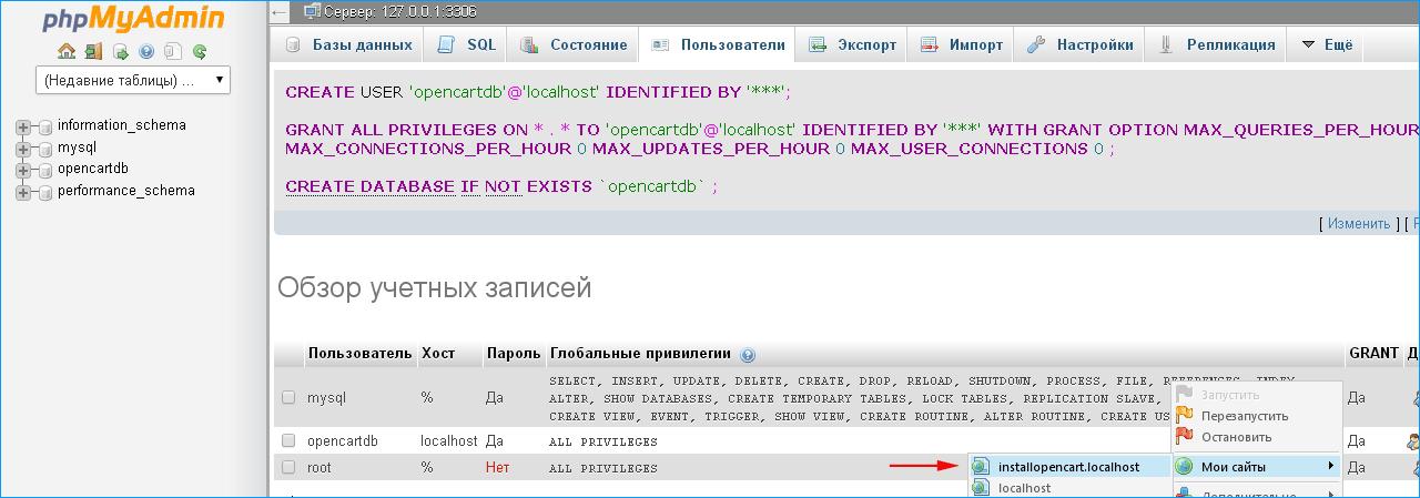 обзор учетных пользователей в phpmyadmin