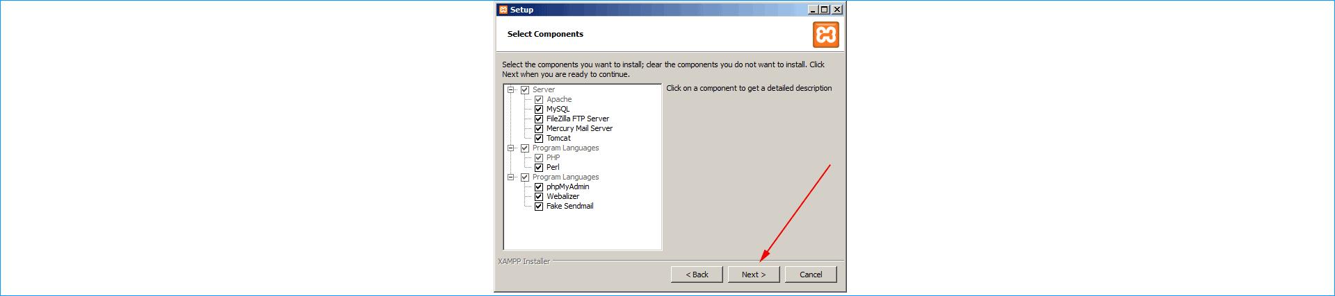 продолжение установки XAMPP