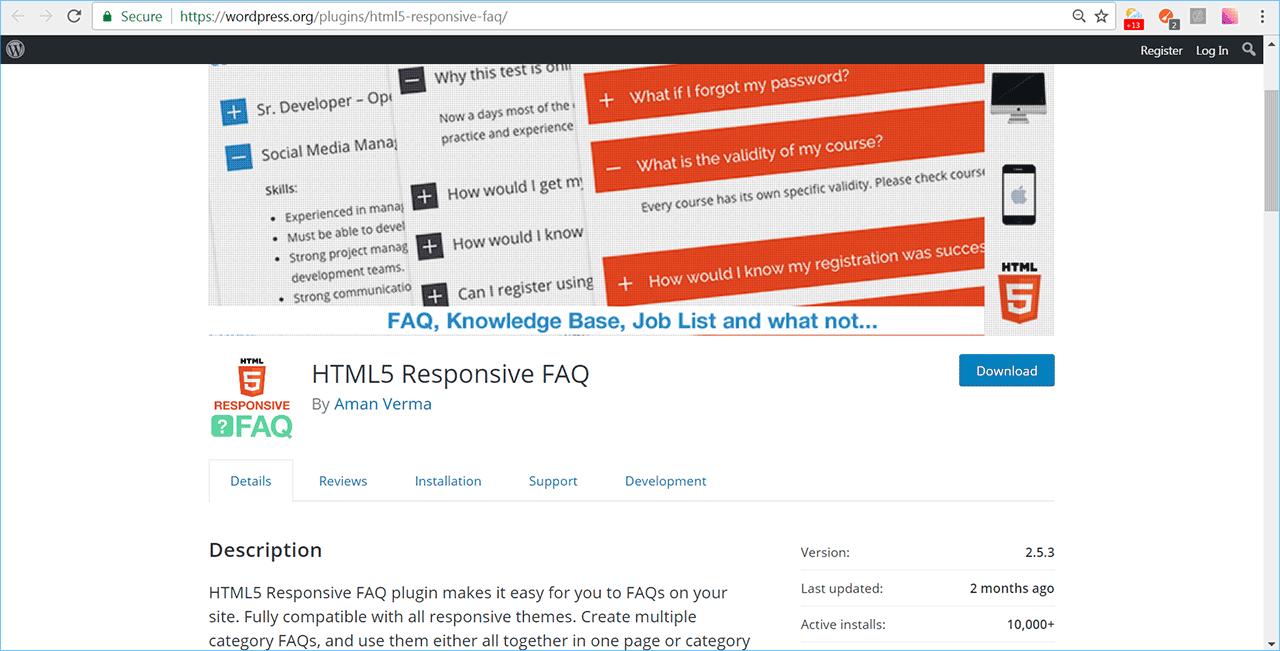 html responsive faq